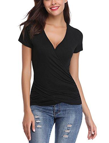 Tee Shirt Femme Col V Sexy Chic Manche Courte Slim Top Haut Blouse Extensible Été Casual Élégant Vintage Moulant Serré Croix Avant - Noir - Taille Larg