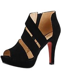 OHQ Stilettos de Bouche Poisson Printemps des Femmes Noir Blanche Marron Grande Taille Montante Lacets Casual Talons Minces Chaussures Peep Toe à Hauts Sandales Plates Cuir Tropeziennes