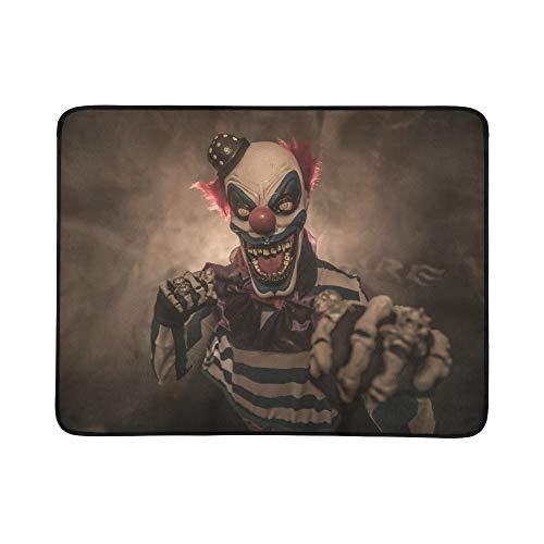 SHAOKAO Böse furchtsame Clown Monster Muster tragbare und Faltbare Deckenmatte 60x78 Zoll handliche Matte für Camping Picknick Strand Indoor Outdoor Reise