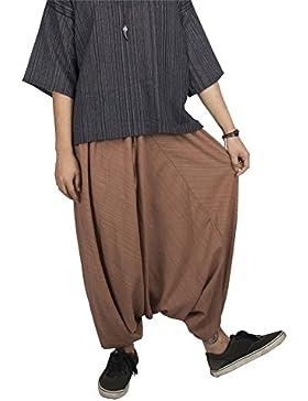 Lofbaz Mujer Rayas Algodón Soltar Entrepierna Cordón Harén Pantalones