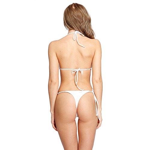 I-Glam Damen Mikro-Bikini mit Stringtanga, basilianische Strandmode Weiß