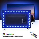Retroilluminazione TV LED, OMERIL 2.2M Striscia LED con 16 Colori e 4 Modalità per HDTV da 24-60 Pollici/PC Monitor, SMD 5050 RGB Retroilluminazione TV Alimentata USB con 24 Tasti Telecomando