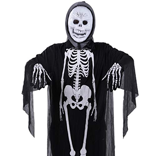 König Kostüm Handschuhe Hexe - Unisex Halloween Skelett Dämonengeist Hexe Mantel Maske Handschuhe Gefälschte Nägel Cosplay Kostüm Party Trick Requisiten-Skelett Kostüm + Einzelstück König + Handschuhe