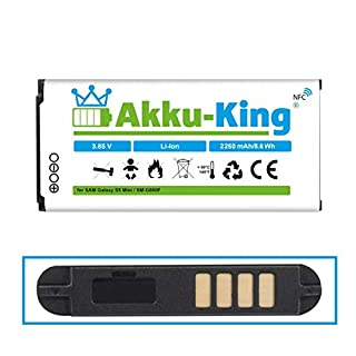 Akku-King Akku ersetzt Samsung EG-BG800BBE - Li-Ion 2250mAh mit NFC - für Galaxy S5 Mini, S5 Mini DuoS, SM-G800F, SM-G800H, SM-G800Y