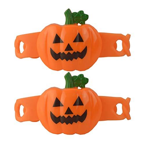 UKCOCO 2pcs Flash Armband Halloween Kürbis Kunststoff Armband Hand Ringe für Kinder