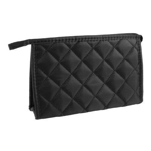 sourcingmap® Noir Losange Motif Nylon Fermeture éclair Fermeture produits de beauté Poche Sac pour femmes