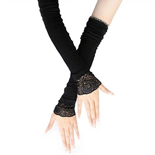 Weibliche dünne Baumwolle mit langen Ärmeln Arm Abdeckungen mit Spitze, Schwarz