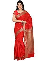 Varkala Silk Sarees Women's Raw Silk Paithani Saree With Blouse Piece(NYJB5009RD_Red_Free Size)