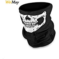 WeiMay Skull Face Mask, Black Half Face Stretchable Windproof Seamless Tubular Mask Bandana Scarf Headband Headwear Neck Warmer for Outdoor Motorcycle Bicycle MotorBike Activities