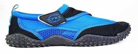 Nalu Velcro Aqua Surf / Beach / Wetsuit Shoes (UK 9 / EU 43, Blue with Black Trim)