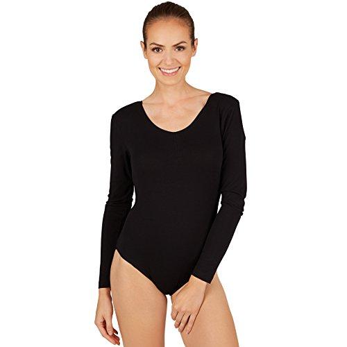 Ballett Langarm-pullover (dressforfun Damen Langarm-Body mit Rundhals Ausschnitt (S | Schwarz | Nr. 301285))