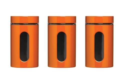 Premier Housewares Vorratsdosen-Set, 1000 ml, 3 Stück, Rot-Orange, Emaille, Glas, Edelstahl, 10x10x19
