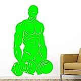Ajcwhml Creative Strong Man Wall Art Muscle Pattern Vinilo removible Etiqueta de la Pared niño Dormitorio decoración Accesorios Cartel de la Pared 绿色 58cm X 98cm