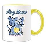 Regalo personalizado–sentado elefante taza (diseño animal tema, colores)–cualquier nombre/mensaje en su única taza, cerámica, Amarillo