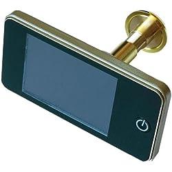 Judas électronique numérique, résolution 1,3Mpx, angle de vision 120°, doré