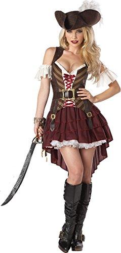 Sexy Piratin Damenkostüm Steampunk braun-rot-weiss (Steampunk Genial Kostüme)