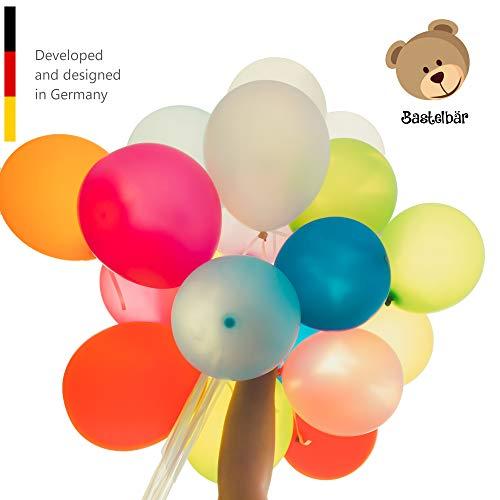 Bastelbär Premium Luftballons - 100 Bunte Ballons - 11 Farben - Ballon für Hochzeit, Party, Geburtstag - Luftballon groß - Helium geeignet