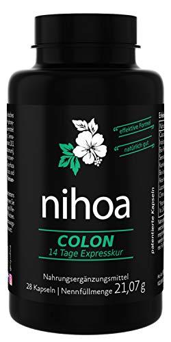 Nihoa Colon Detox 14 Tage Darmreinigung Expresskur für Entgiftung + Entschlackung, 28 Kapseln
