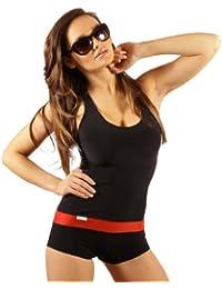 b7db9ee2dd0dd7 Stanteks Damen Badeanzug mit Bein Schwimmanzug Hotpants mit Schwimmerrücken  SK0021