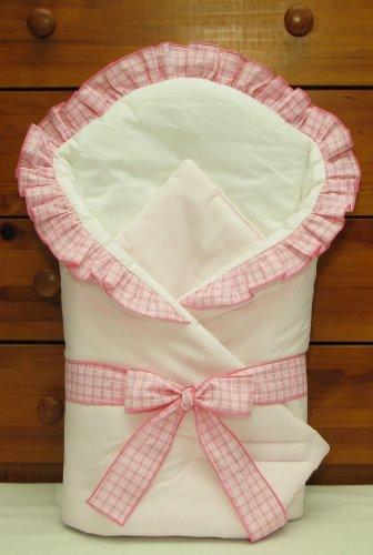 Baby Comfort Wickeltuch/Decke für Babys, 80x80cm, karierter Saum, Rosa