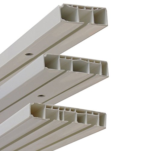 Garduna * Gardinenschiene Vorhangschiene, 1-/ 2-/ 3-läufig, Kunststoff, Weiss (2-läufig 120cm)