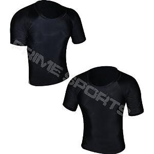 41PtfnEQCQL. SS300  - Prime Rash Guard Vest MMA Running Grappling UFC Top T Shirt Mens Boxing Black Half Sleeve Large