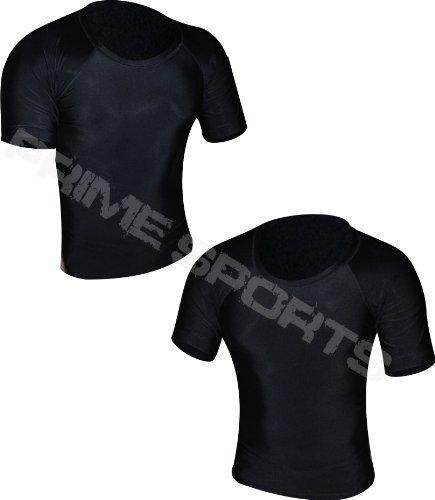 41PtfnEQCQL - Prime Rash Guard Vest MMA Running Grappling UFC Top T Shirt Mens Boxing Black Half Sleeve Large