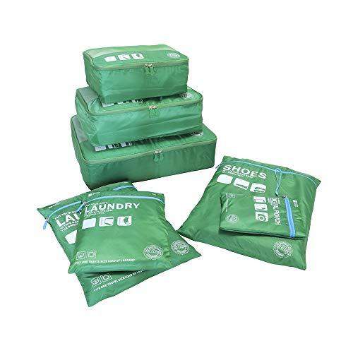 Packing Cubes Koffer Organizer-7Sets Kleidertaschen Aufbewahrungstasche wasserdicht und leichtgewichtig - Koffer Kompressionsbeutel Schuhbeutel Reise(Grün)