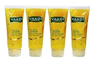 Vaadi Herbals Value Pack of Honey Lemon Face Wash with Jojoba Beads, 4 x 60ml