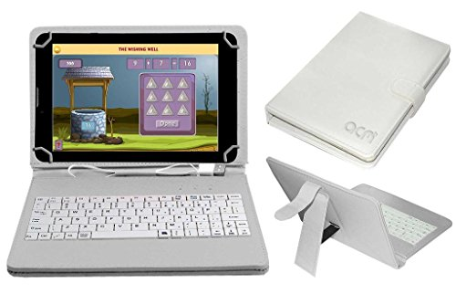 """Acm USB Keyboard Case Compatible with Datawind Education 7"""" Tab Tablet Cover Stand with Free Micro USB OTG - White"""
