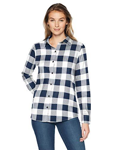 Amazon Essentials Damen Langarmshirt aus Flanell, klassische Passform, leicht, kariert, navy buffalo plaid, US S (EU S - M) -
