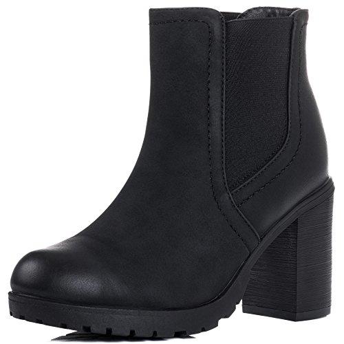 Spylovebuy Bombshell Femmes Plateforme à Talon Bloc Chelsea Boots Bottines Noir - Similicuir