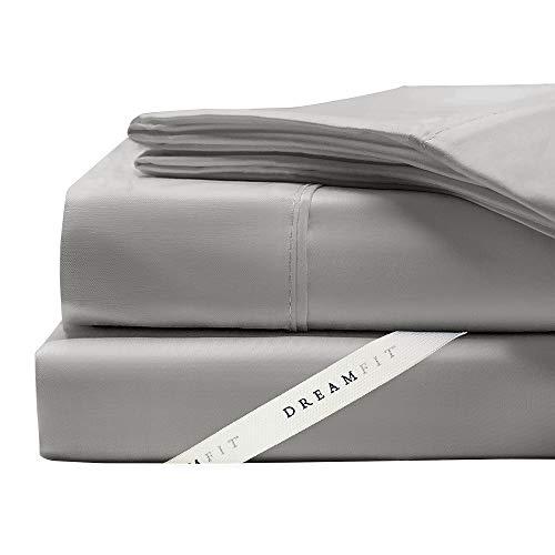 DreamFit Bettlaken-Set, 4-Grad, Fadenzahl 400, 100% ägyptische Baumwolle California King grau (Bettwäsche King California Split)
