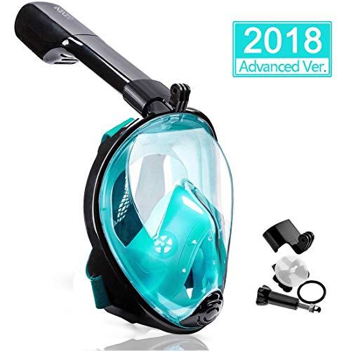 OCEVEN Panorama Vollmaske Schnorchelmaske Tauchmaske Vollgesichtsmaske mit 180° Sichtfeld, Dichtung aus Silikon Anti-Beschlag & Wasserdicht für Erwachsene und Kinder Anti-Fog Anti-Leak (Grün, S/M)