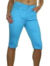 ICE (1518-4) Pantacourt en Jeans Extensible Moulant et Brillant à Revers Bleu