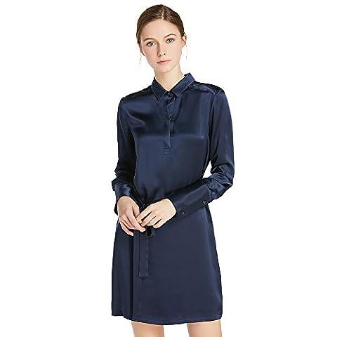 LILYSILK Women's Charmeuse Silk Blouse Shirt Dress Short With Belt Long Sleeve 22 Momme 100% Pure Silk Navy Blue Size