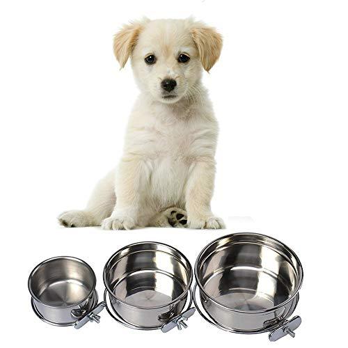 Pet Dog Coop Cups Edelstahl Futternapf mit Klemmung-Abnehmbare Hund Katze Käfig Hundehütte Zum Aufhängen Metall Lebensmittel Wasser Futternapf, Medium, Silber -
