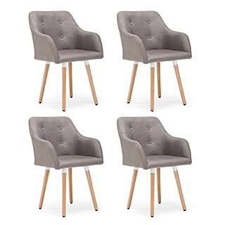 Tatayang 4er Set esstisch stühle Stuhl, Esszimmerstühle Esszimmerstuhl mit Armlehne UNE Lehne, Küchenstuhle Leinen Eichenholz (Hellgrau)