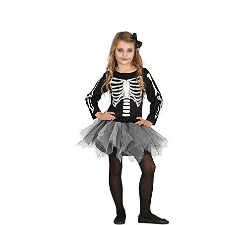 Guirca schauriges Skelett Kleid für Mädchen Halloween Tutu Kinder Kostüm Gr. 98-146, Größe:98/104 (Kostüm Tutu Skelett)