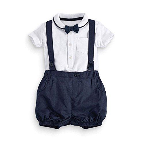 Anzug für 0-24 M Kleinkind Baby Säugling Jungen Outfits Fliege + T-Shirt + Strap Kinder Kleider Set (80)