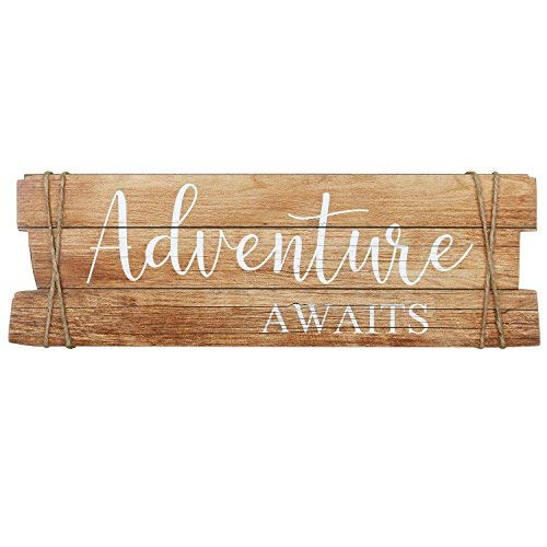Wood Passion Adventure Awaits 45 x 15 cm hängeschild Cartel de madera de DM Alemán Cartel Vintage Retro -