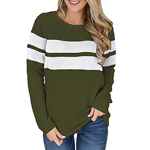 (Epig Damen Spring Pullover, Frauen Casual Farbblock Patchwork Oansatz Langarm Pullover Tops Lose Tunika Sweatshirt)