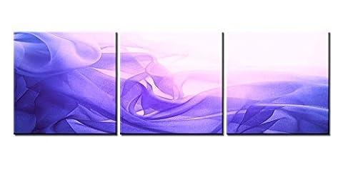 Impression sur toile Décoration murale Tableau abstrait agitant Flying Lavande et soie bleue textile Fond Plan 3pièces peintures moderne giclée encadrée illustrations abstrait photos Impressions Photo