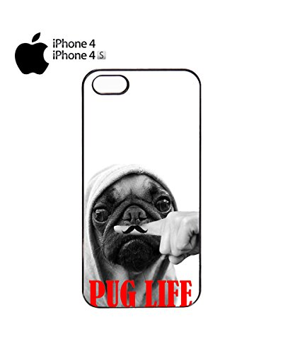 Pug Life Mustage Moustache Funny Dog Mobile Phone Case Cover iPhone 6 Plus + White Noir