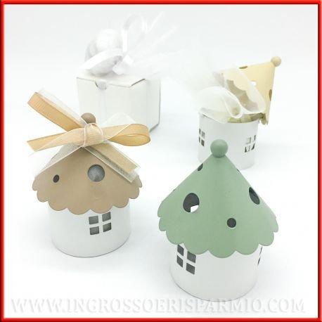 Mini Laternen Kerzenhalter in Form eines Hauses mit Base rund weiß und Dach A Konus bunt sortiert in grün taupe creme–Gastgeschenk Hochzeit, Tischkarten kit 24 pz. tiffany in scatola (Base-dach)
