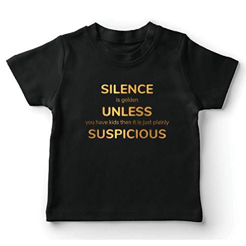 lepni.me Kinder Jungen/Mädchen T-Shirt Schweigen ist Gold. Es sei denn, du hast Kinder. Familienangebot (12-13 Years Schwarz Mehrfarben) (Ich Liebe Beute-shirt)