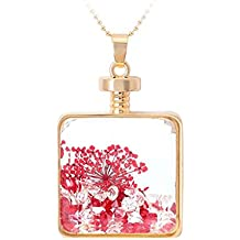 Premium & Stylish Charming Dry Flower Square Glass Necklace by Zarood for Party, Evening & for Every Day Use, Ideal gift for Birthday, Anniversary, Valentine.