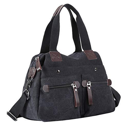 Eshow Damen Umhängetasche Handtasche Canvas Segeltuch mit Handgriff Anti diebstahl Fächern Grau zu Einkaufen spazieren -