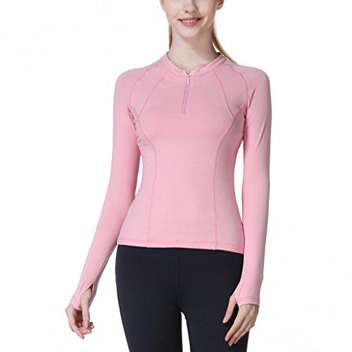 ZCJB Abbigliamento Sportivo Yoga T-shirt Manica Lunga Sportiva Aderente ( Colore : Rosa , dimensioni : S. ) Rosa
