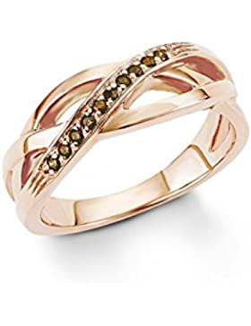 s. Oliver Damen-Ring 925 Silber teilvergoldet Zirkonia braun Rundschliff - 5401